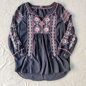 Johnny Was Boho Embroidered Black Top